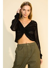 HYFVE Hyfve Long Sleeve Cropped Twisted Front Sweater (HF21F866)