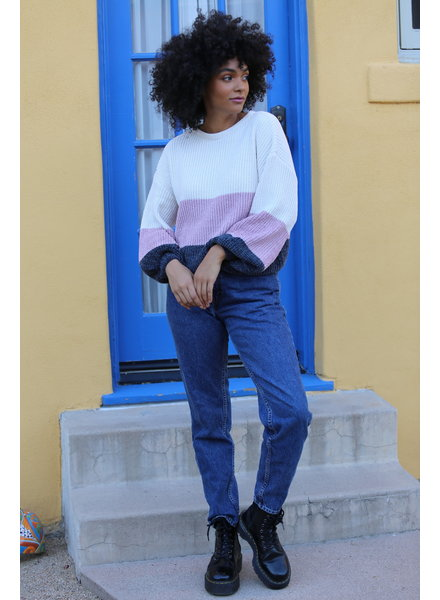 Angie Chenille Ballon Sleeve Pullover (XHJ23)
