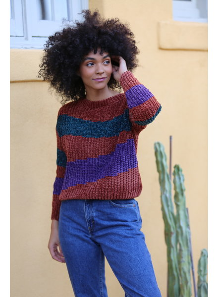 Angie Three Tone Chenille Pullover (XHJ58) ASIS