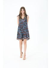 Angie Tiered V-Neck Tie Shoulder Dress (C4363)