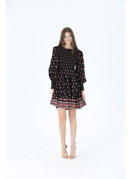 Angie Smocked High Neck Puff Slv Dress (H4023)
