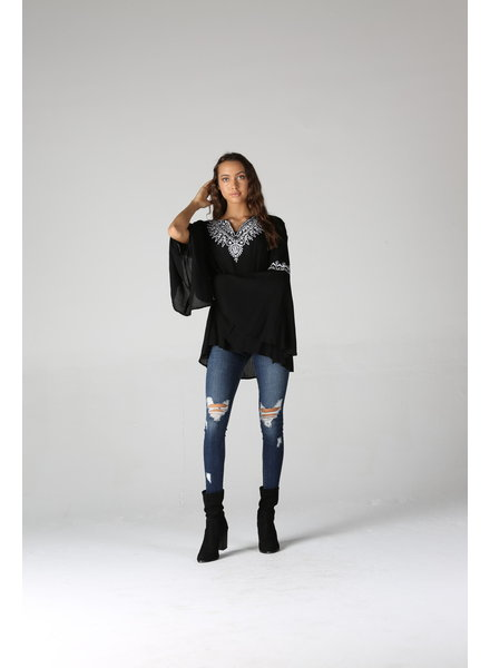 Angie Embroidered Bell Sleeve Top (P2T20)
