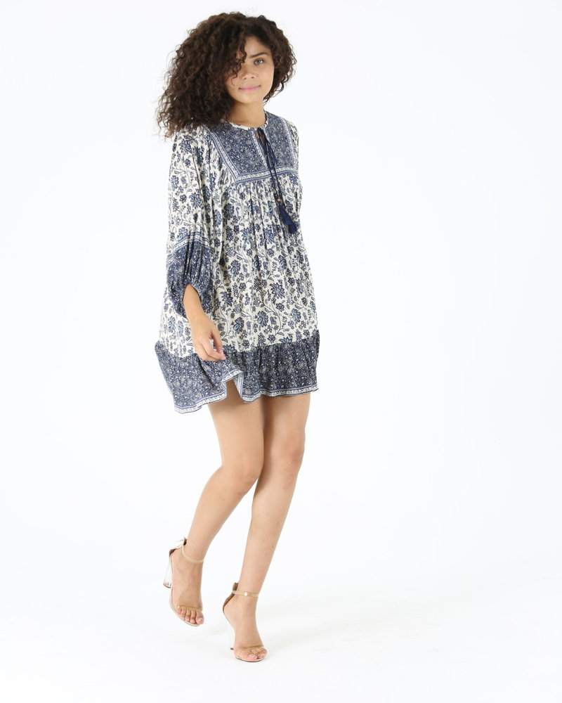 Angie Puff Sleeve W/ Tie at Neck Dress (C4230)