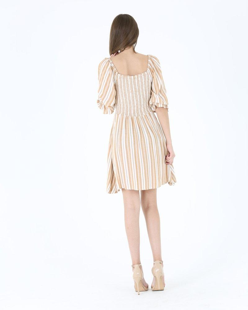Angie Striped Smocked Dress (C4305)