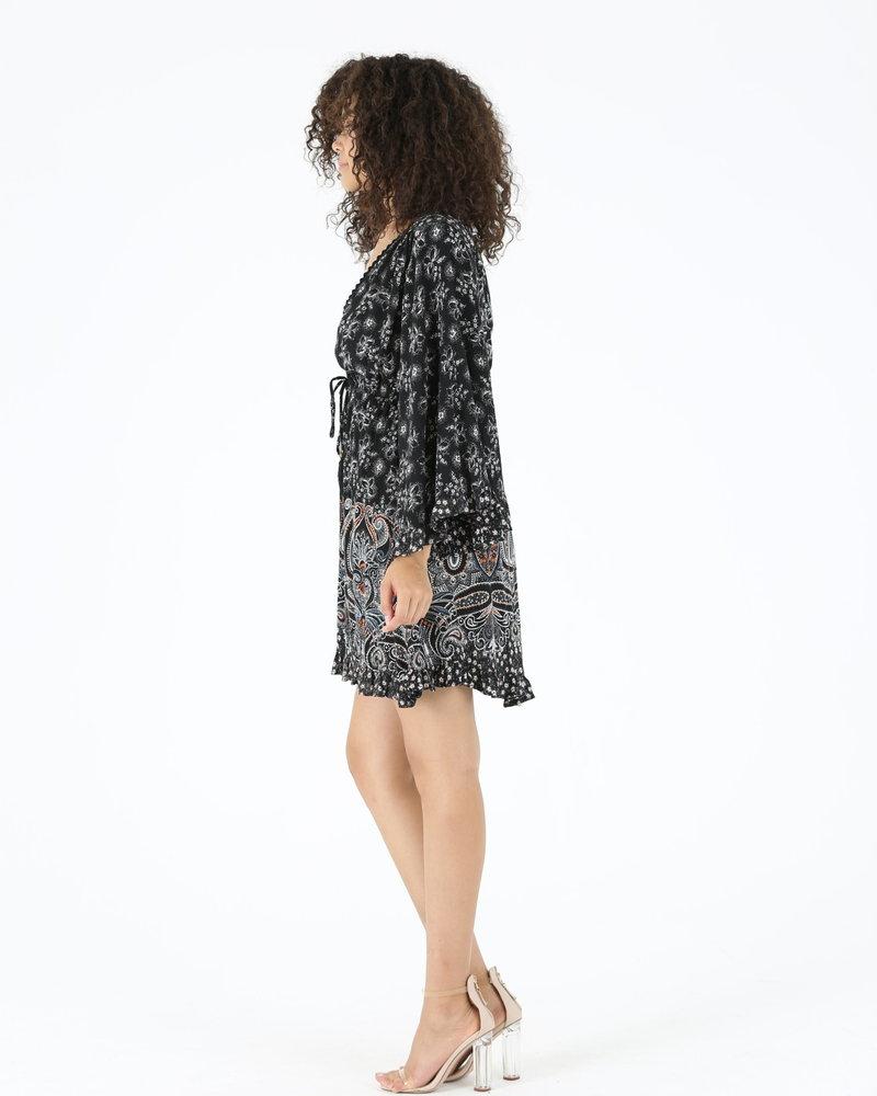 Angie Faux Wrap Long Sleeve Dress (C4342)