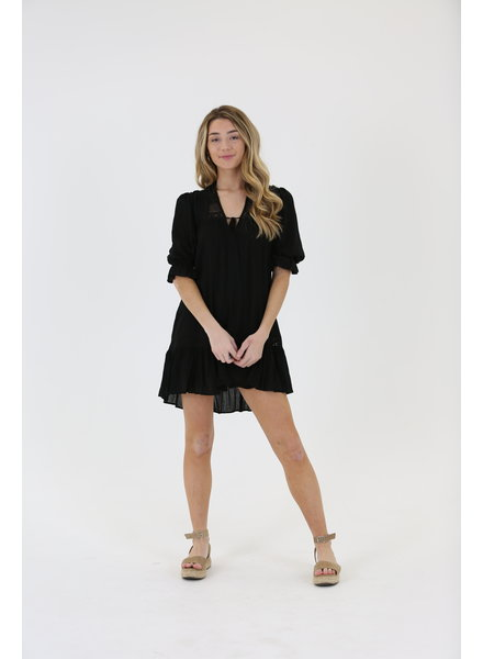Angie Swiss Dot Peasant Dress (C4386)