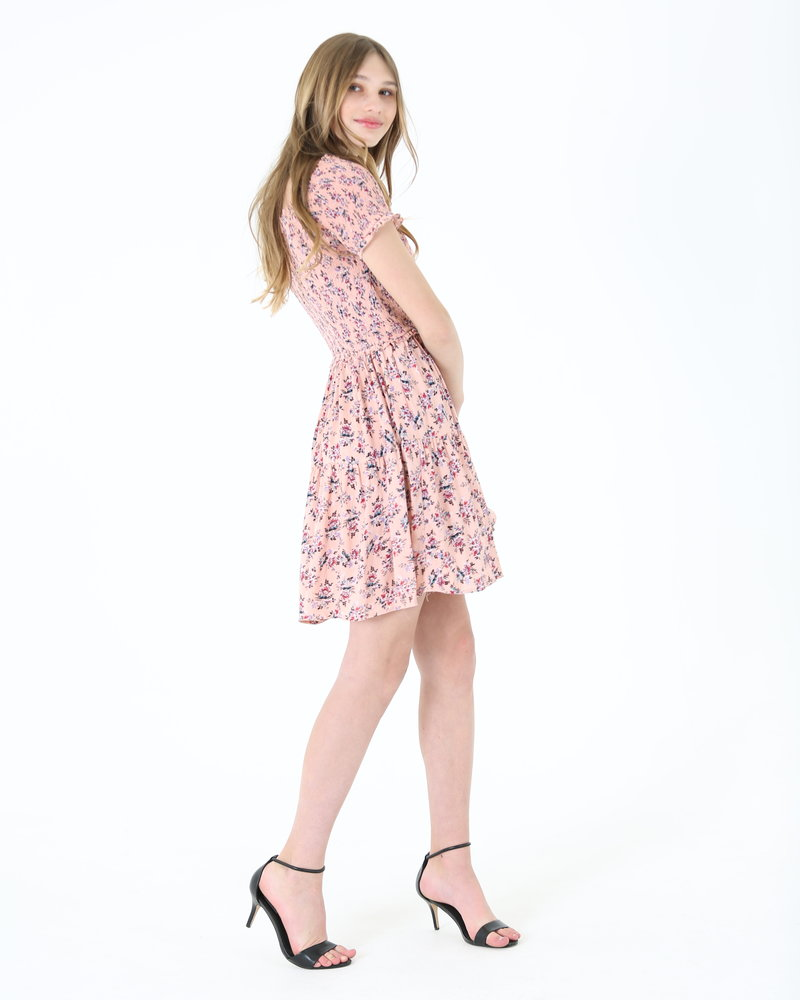 Angie Smocked Top Short Sleeve Dress (F4F67)