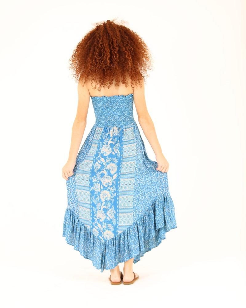 Angie Smocked Bodice Angled Hem Dress (F4E04)