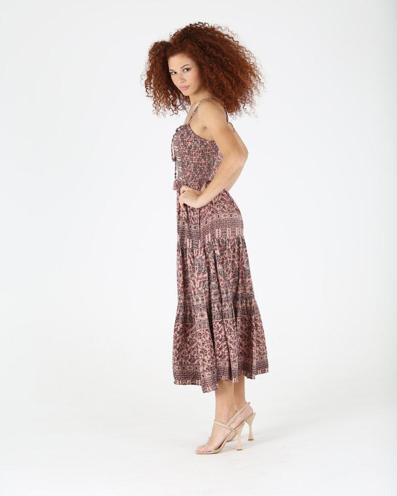 Angie Overdye Tie Neck Strappy Back Dress (F4E88)