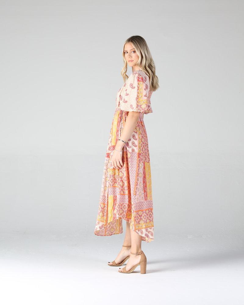 Angie Patchwork Round Hem Midi Dress (F4D46)