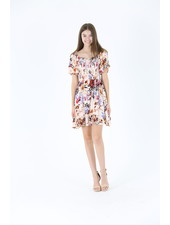 Angie Printed Dress with Smocked Top (C4189)