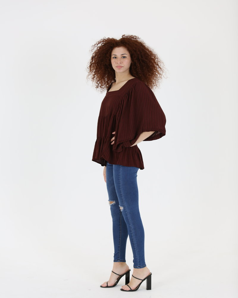 Angie Overdye Striped Wide Sleeve Top (B2Z73)