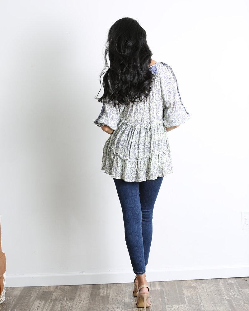 Angie Tie Neck Tiered Tunic With Lurex Threads (F2536)