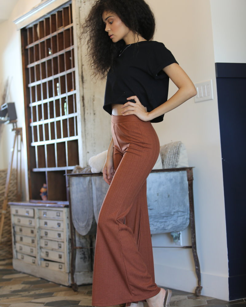 Angie Rib Knit Flare Pants (XP883)