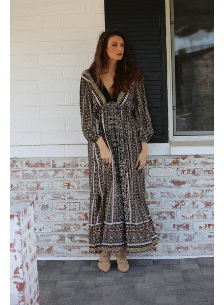 Angie V-Neck Long Sleeve Maxi Dress (F9E12)