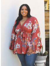 Angie V Neck Angled Sleeves Top  (F9197)