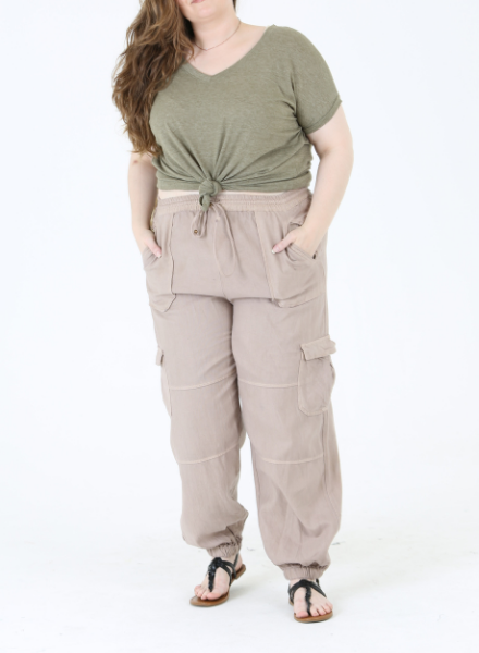 Angie Twill Washed Cargo Joggers (29S38)