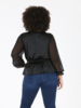 Angie Plus Sheer Sleeves Lace Up Top (P9Z38)