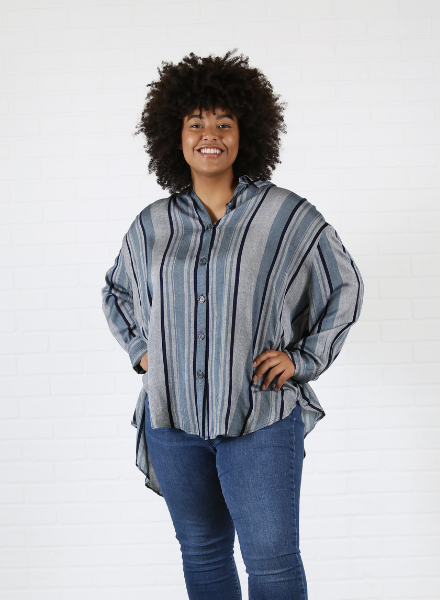 Angie Plus Plaid Button Front Tunic (F9593)