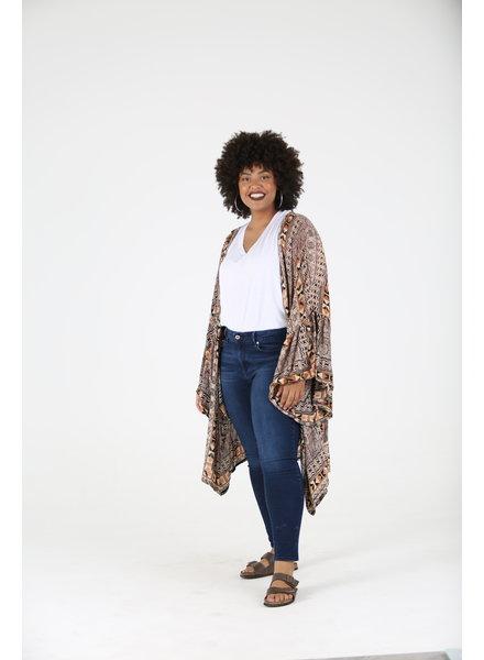 Angie Plus Flounce Sleeve Kimono (F9560)