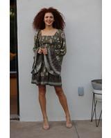 Angie Smocked Bodice Dress W Flutter Sleeves (C4468)
