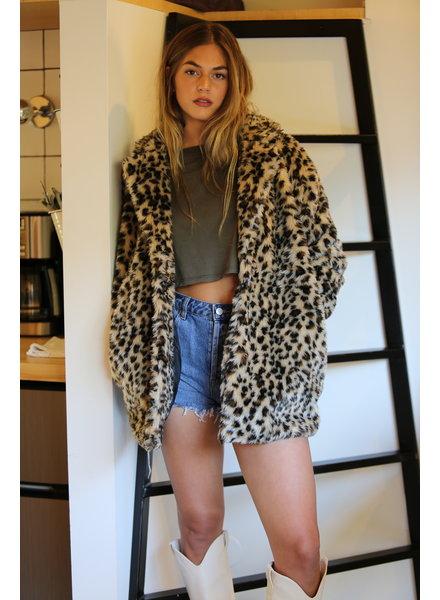 Angie Animal Print Faux Fur Jacket (SJ949)