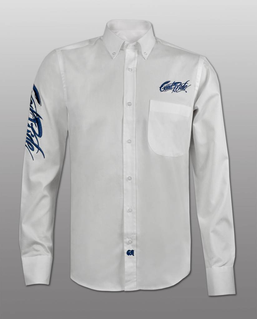 Men's White and Blue Show Shirt
