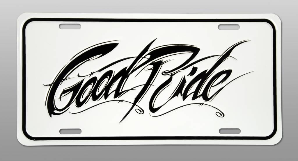 Good Ride WHITE License Plate