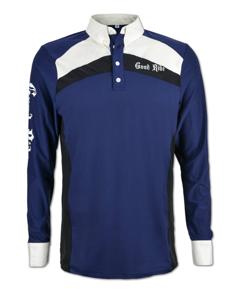 Men's Long Sleeve Blue /White Polo