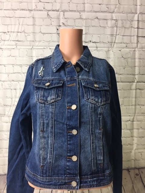 Women's Distressed gothic Good Ride jean jacket