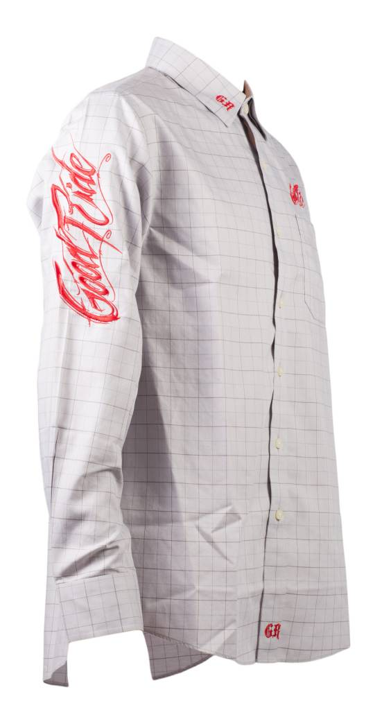 Dove Gray and Red Windowpane Men's Show Shirt