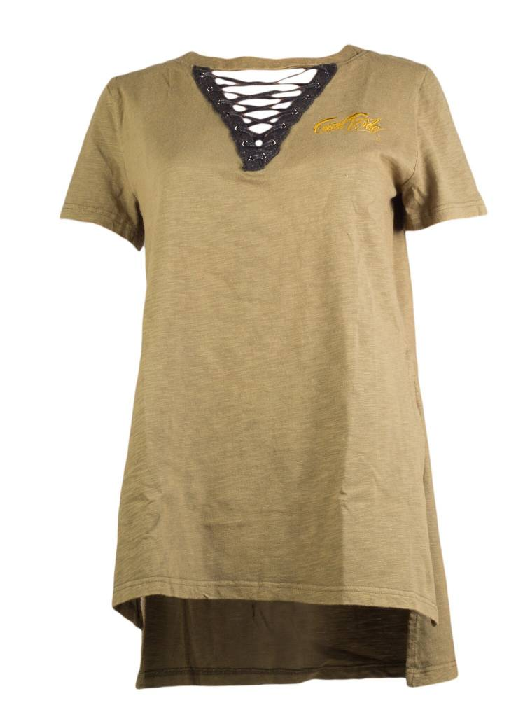 OLIVE / BLACK  WOMEN'S LACE UP  SHIRT