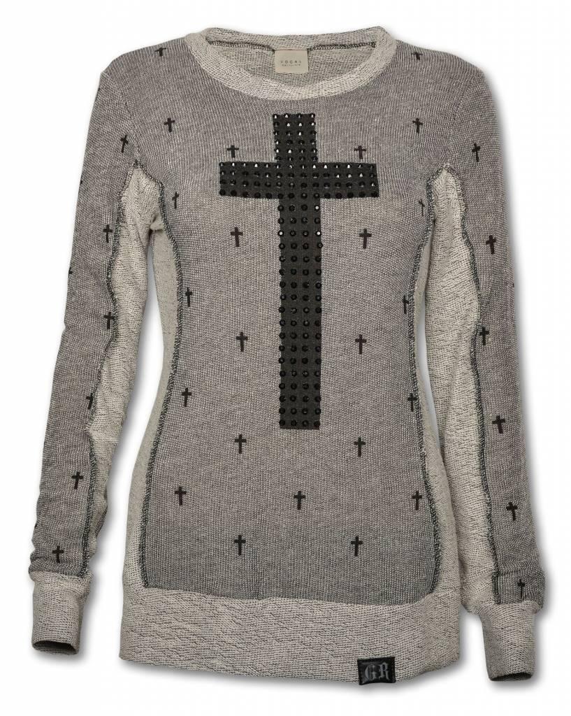 Gray and Black Women's Cross Sweater