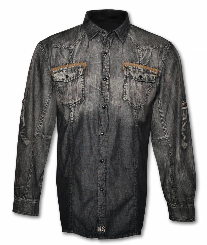 Black Denim Long Sleeve Men's Shirt