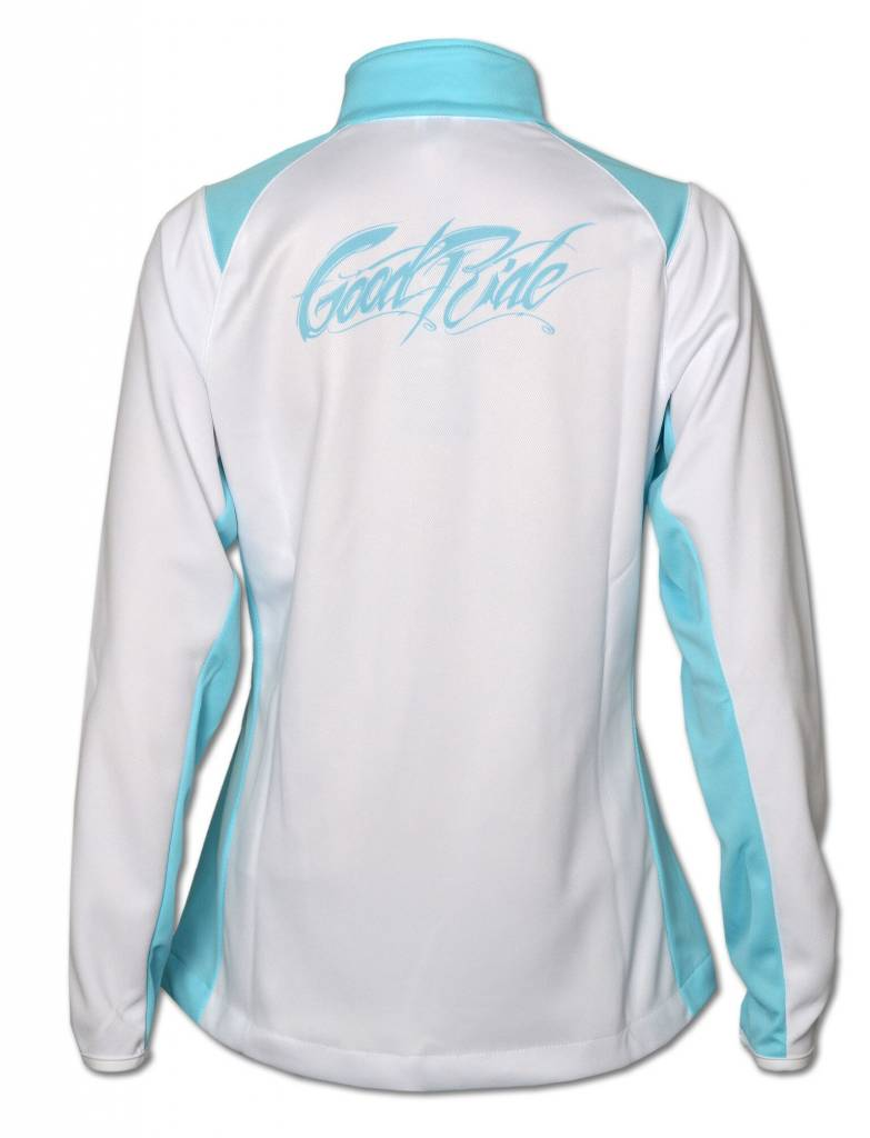 Light Blue and White Brush Stroke Full -Zip Women's Jacket