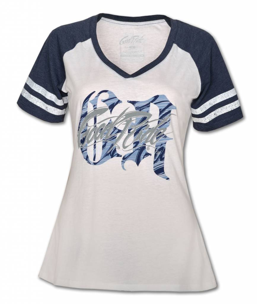 Women's Game Day V - Neck T -Shirt White  and Navy
