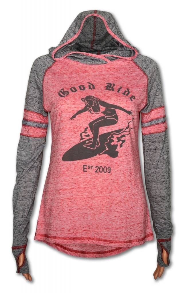 Women's Red and Gray Surfer Long Sleeve Tee with Hood