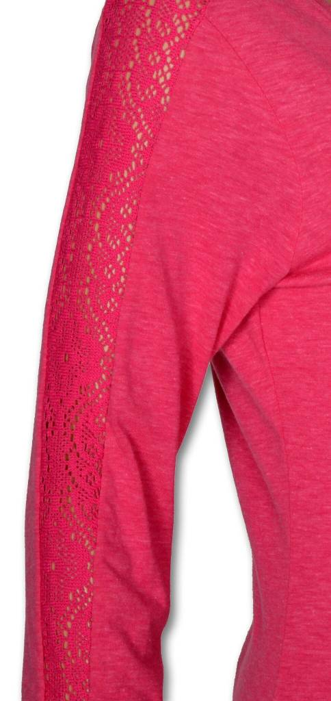 Women's Fuchsia 3/4 Sleeve Tee with Lace