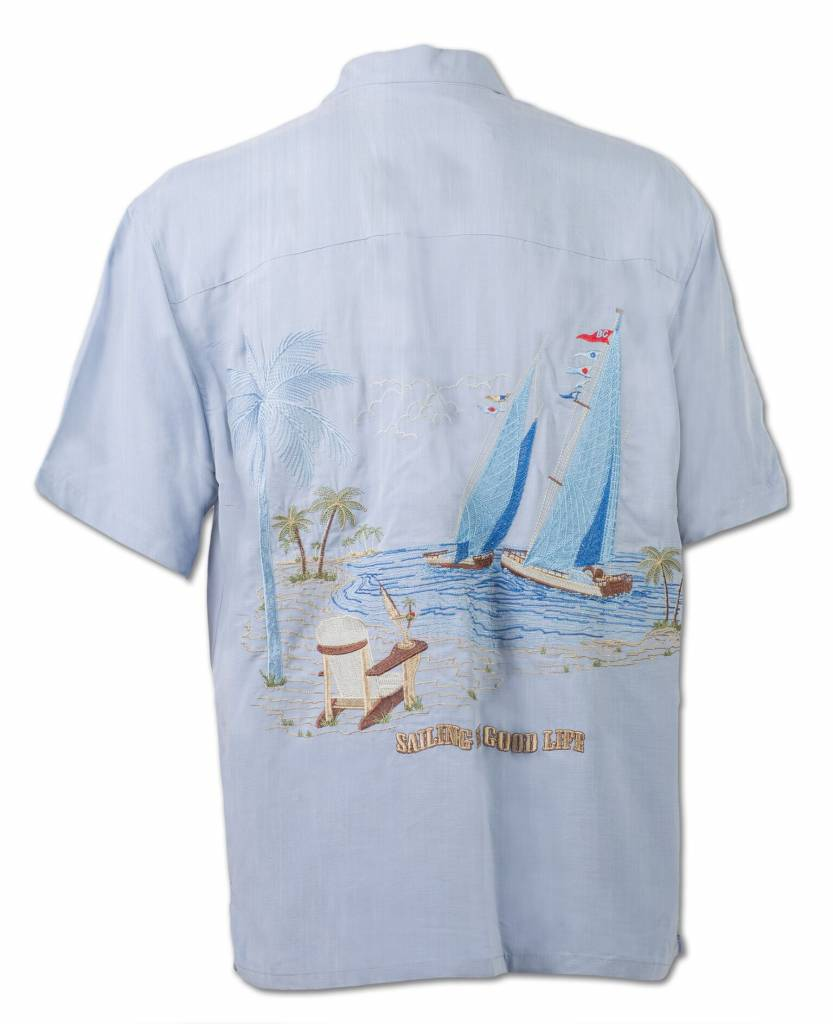 Light Blue Sailboat Themed Resort Shirt