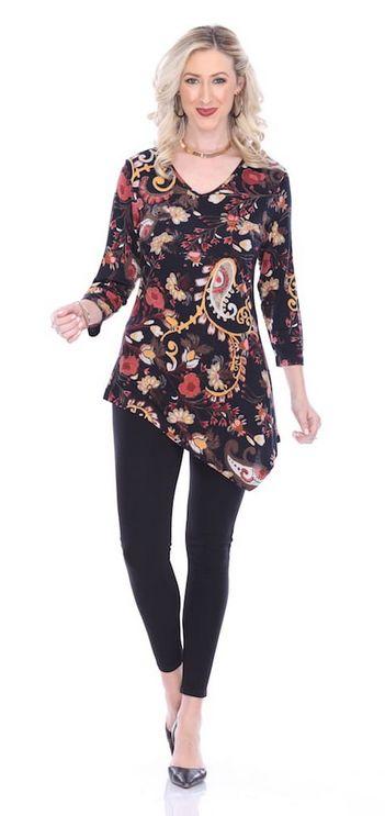 Parsley & Sage Asymmetrical Floral Tunic