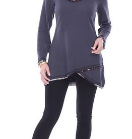 Parsley & Sage Cowl Neck Top, Grey/Multi