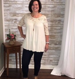 Ivory Floral Lace Yoke Solid Top