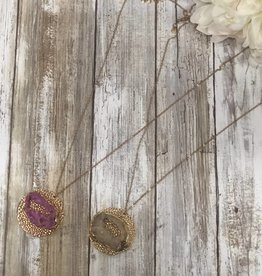 Pave Druzy Disk Pendant Necklace, WN0436