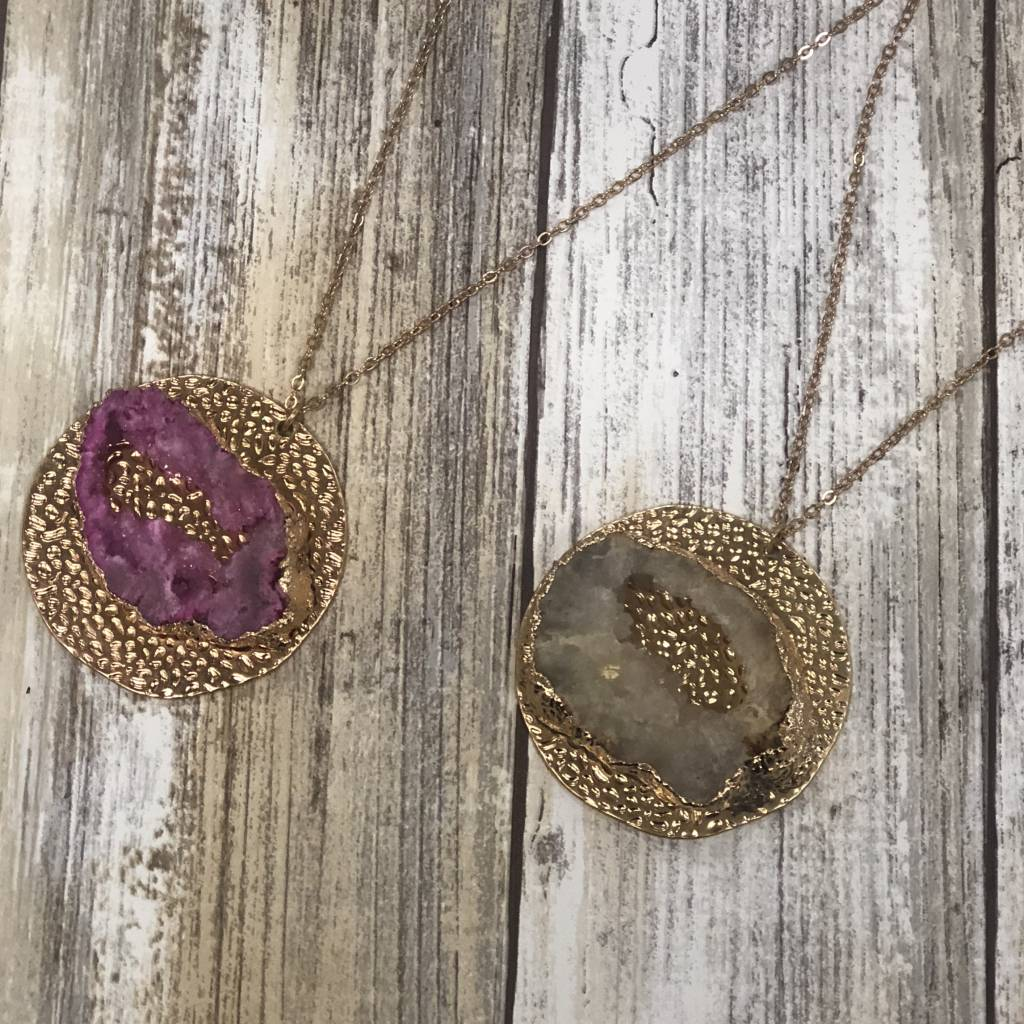 LA Showroom Pave Druzy Disk Pendant Necklace, WN0436