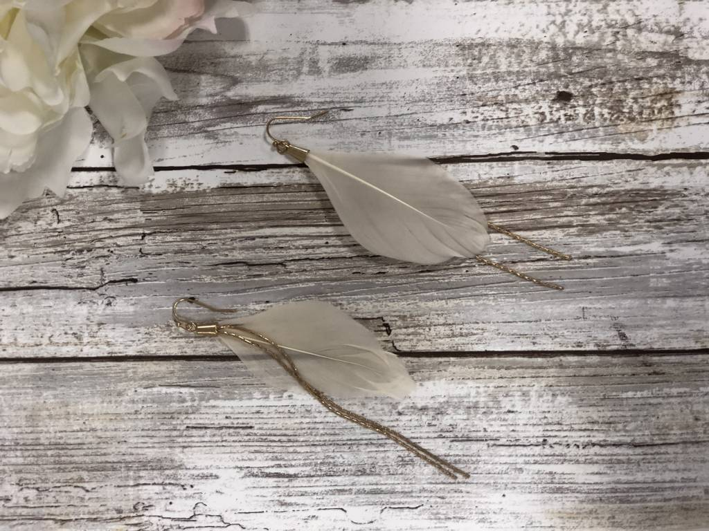 LA Showroom Ivory Feather Chain Drop Earrings, KE2016