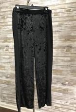 Made In Italy Black Elastic Waistband Woven Velvet Pant, 11/37514J