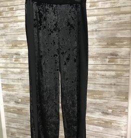 Black Elastic Waistband Woven Velvet Pant, 11/37514J