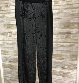 Made In Italy Black Elastic Waistband Woven Velvet Pant, 11/37514J