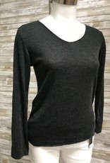 Made In Italy Black Knitted U Neck Pullover L/S Top, 10/85195J