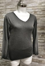 Made In Italy Anthracite Knitted U Neck Pullover L/S Top, 10/85195J
